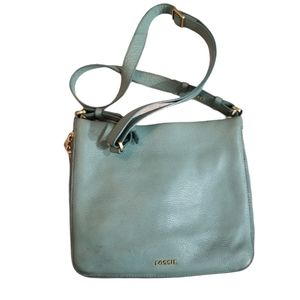 Fossil Teal Cow Hide Leather Crossbody Bag